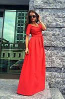 Платье красного цвета в пол в складку