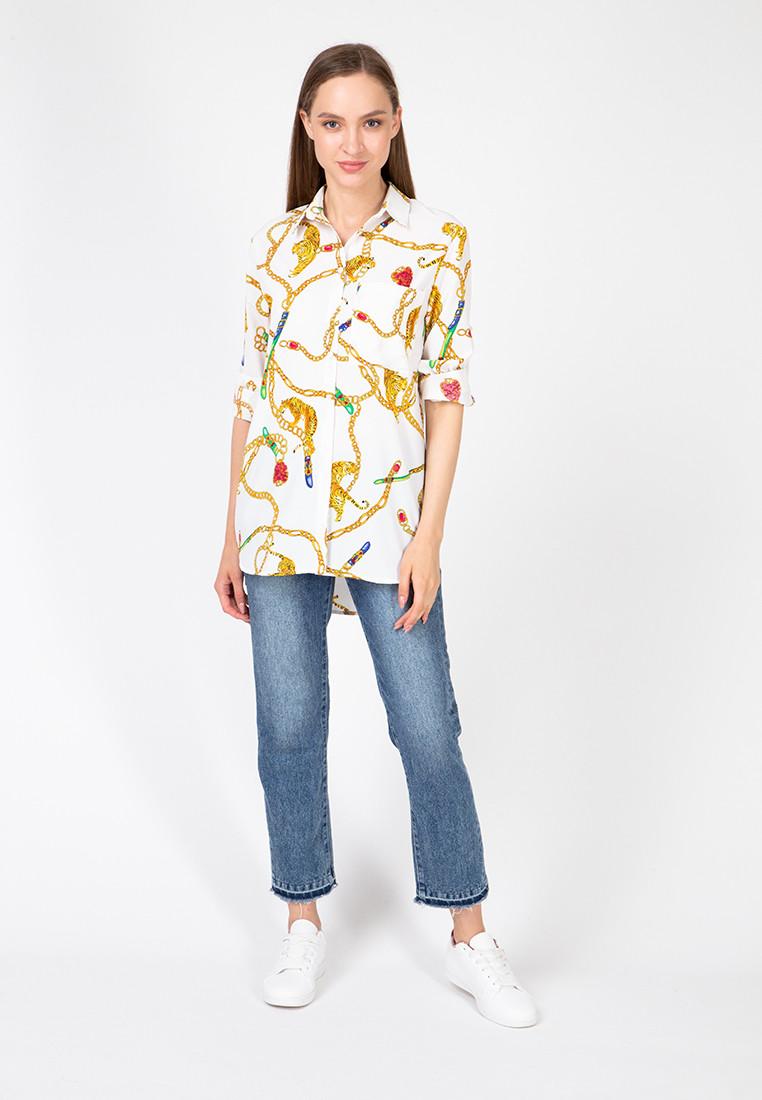 """Женская блуза-рубашка """"TIGRESS"""" с принтом и длинным рукавом (2 цвета)"""