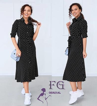 Классическое платье миди рукав три четверти сьемный пояс черный, фото 2
