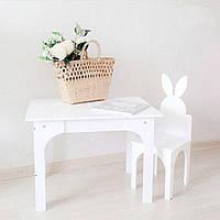 Комплект Стіл і стілець Зайчик KiddyRoom Білий