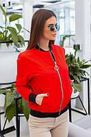 Куртка бомбер женский весна лето чёрный,белый,красный,бордо,хаки 42-52, фото 1