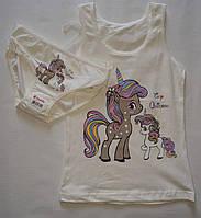 Детский комплект трусики и маечка  белья на девочку Donella молочный- поняшки.4-5 лет.