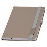 Записная книжка Туксон  LanyBook, белый блок в клетку, кожзам,с табличкой для гравировки, серая