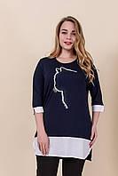 Женская летняя туника с принтом темно синего цвета. Турция. Размеры 52, 54, 56, 58. Хмельницкий, фото 1