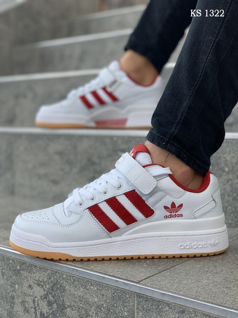 Мужские кроссовки Adidas Forum Mid белые с красным / кеды Адидас (Топ реплика ААА+)