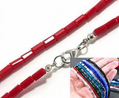 Бусины прямоугольные 3х6мм, с замочком длина 48см ≈ 68 бусин (стекло) цвет - Красный