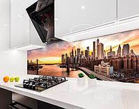 Кухонный фартук Город на рассвете небоскребы (виниловая самоклеющаяся пленка для кухни, скинали), бежевый, 600*3000 мм