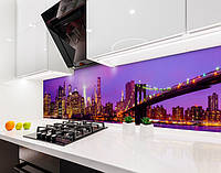 Кухонный фартук Яркий город и Мост (виниловая самоклеющаяся пленка для кухни, скинали) архитектура, фиолетовый, 600*3000 мм