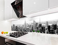 Кухонный фартук Черно-белые Небоскребы (виниловая самоклеющаяся пленка для кухни, скинали) город, серый, 600*3000 мм