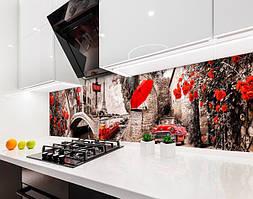 Кухонный фартук Париж и Красный Зонт (виниловая самоклеющаяся пленка, скинали) коричневый, 600*3000 мм