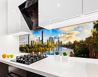 Кухонный фартук Современный город и природа (виниловая самоклеющаяся пленка для кухни, скинали) голубой, 600*3000 мм