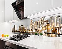 Кухонный фартук Золотой Город (виниловая самоклеющаяся пленка для кухни, скинали) небоскребы, серый, 600*3000 мм