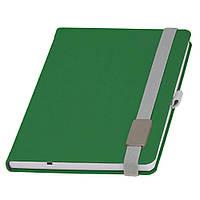 Записная книжка Туксон  LanyBook, белый блок в линейку, кожзам,с табличкой для гравировки, зеленая