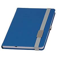 Записная книжка Туксон  LanyBook, белый блок в линейку, кожзам,с табличкой для гравировки, голубая, фото 1
