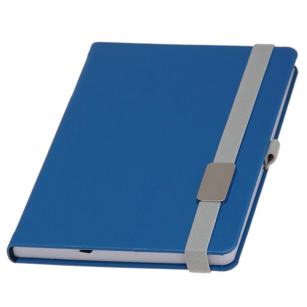 Записная книжка Туксон  LanyBook, белый блок в линейку, кожзам,с табличкой для гравировки, голубая