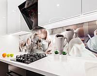 Кухонный фартук Чашки Какао Плед кофе (виниловая самоклеющаяся пленка для кухни, скинали) абстракция, бежевый, 600*3000 мм