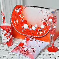 Хит! Набор аксессуаров для Свадьбы 7 предметов с декоративной лепкой, Красный