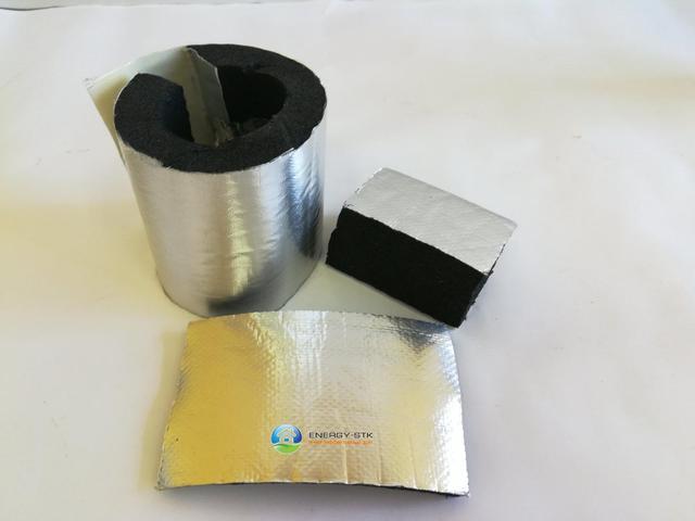 Утеплитель для труб из вспененного каучука с защитным покрытием алюхолст для наружного применения.