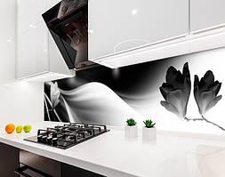 Кухонный фартук Магнолия Черно-белая (виниловая самоклеющаяся пленка для кухни, скинали) абстракция, серый, 600*3000 мм