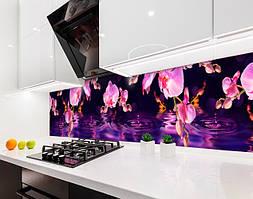 Кухонный фартук Космические Орхидеи (виниловая самоклеющаяся пленка для кухни, скинали) цветы фиолетовый, 600*3000 мм