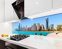 Кухонный фартук Город на берегу Океана (виниловая самоклеющаяся пленка для кухни, скинали) архитектура голубой, 600*3000 мм