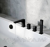Черный смеситель в борт ванны Excellent KERIA AREX.2033BL