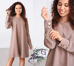 Стильное платье до колен свободное с пуговицами розовое, фото 2