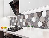 Кухонный фартук Плитка Соты Шестиугольники (виниловая самоклеющаяся пленка, скинали) серый, 600*3000 мм