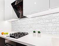 Кухонный фартук Текстура под Кирпич кладка (виниловая самоклеющаяся пленка для кухни, скинали) серый, 600*3000 мм