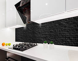 Кухонный фартук Черный Кирпич, кирпичная кладка (виниловая самоклеющаяся пленка для кухни, скинали) текстура, 600*3000 мм