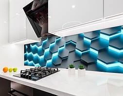 Кухонный фартук Светящиеся Соты (виниловая самоклеющаяся пленка для кухни, скинали) неоновый, голубой, 600*3000 мм