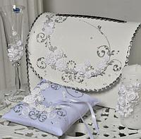 Хит! Набор свадебных аксессуаров 7 предметов с декоративной лепкой, Белый