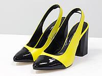 Туфли на высоком глянцевом каблуке, выполнены из натуральной итальянской кожи желтого и черного цвета