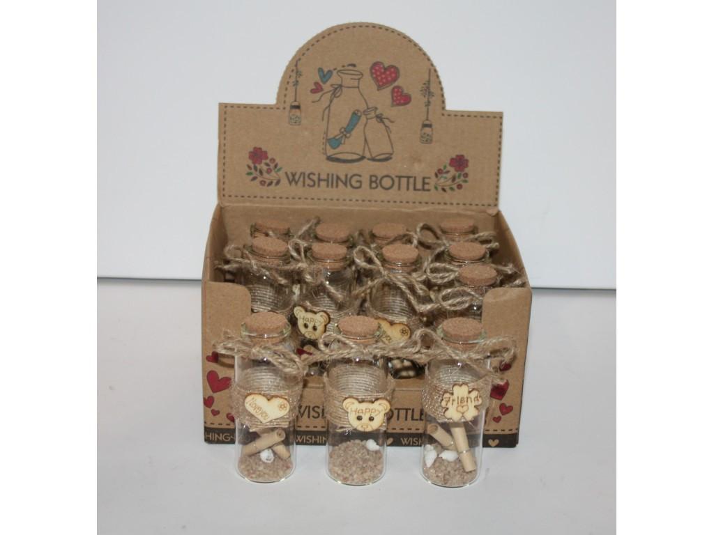 Бутылочки с пожеланиями 12шт  3004-7