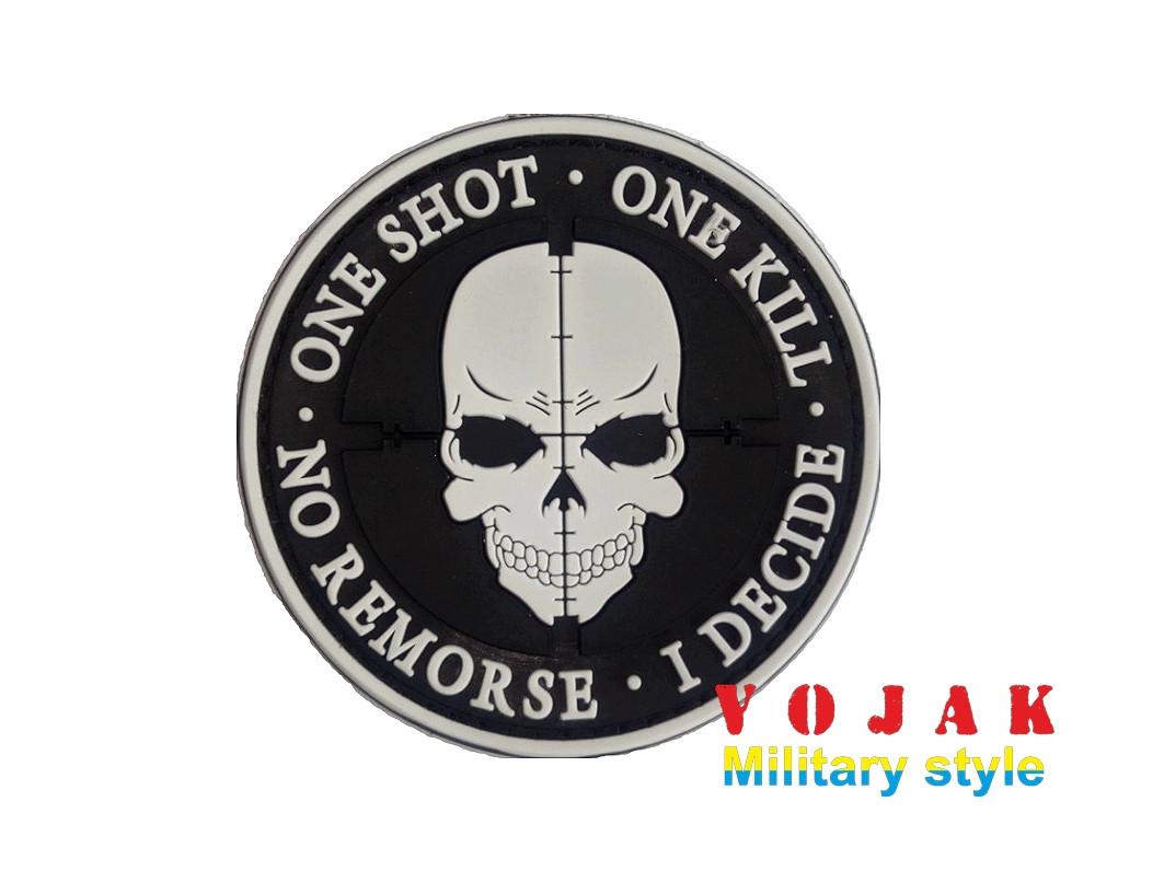 "Шеврон ПВХ ""One shot, one kill"" черно/белый"