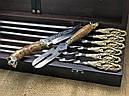 """Эксклюзивный набор шампуров с бронзовыми ручками """"Кабан"""" с ножом и вилкой, в кейсе из натурального дерева, фото 4"""