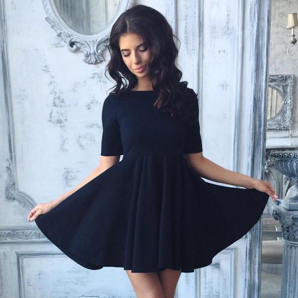 f3ed98ad42c Платье черного цвета с юбкой солнце - Интернет-магазин одежды и обуви от  производителя