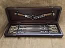 """Эксклюзивный набор шампуров с бронзовыми ручками """"Кабан"""" с ножом и вилкой, в кейсе из натурального дерева, фото 6"""