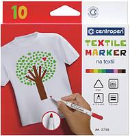 Маркеры для текстиля Centropen Textile 2 мм, набор 10 цветов, 2739.10
