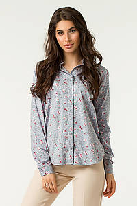 """Женская блуза-рубашка """"Колибри"""" с принтом и длинным рукавом"""