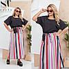 Літній комбіноване жіноче плаття максі (2 кольори) ЕК/-1415 - Чорний/сірий