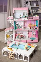 """Кукольный домик для Барби NestWood """"ЛЮКС"""" (терраса+балкон+бассейн) 5 комнат (114см), без мебели"""