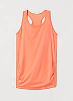 Майка для беременных H&M однотонный оранжевого спортивный полиэстер