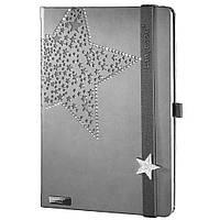 Записная книжка 'Crystal Star' (LanyBook)  , белый блок в линейку, кожзам, серебристый срез, стразы, серая