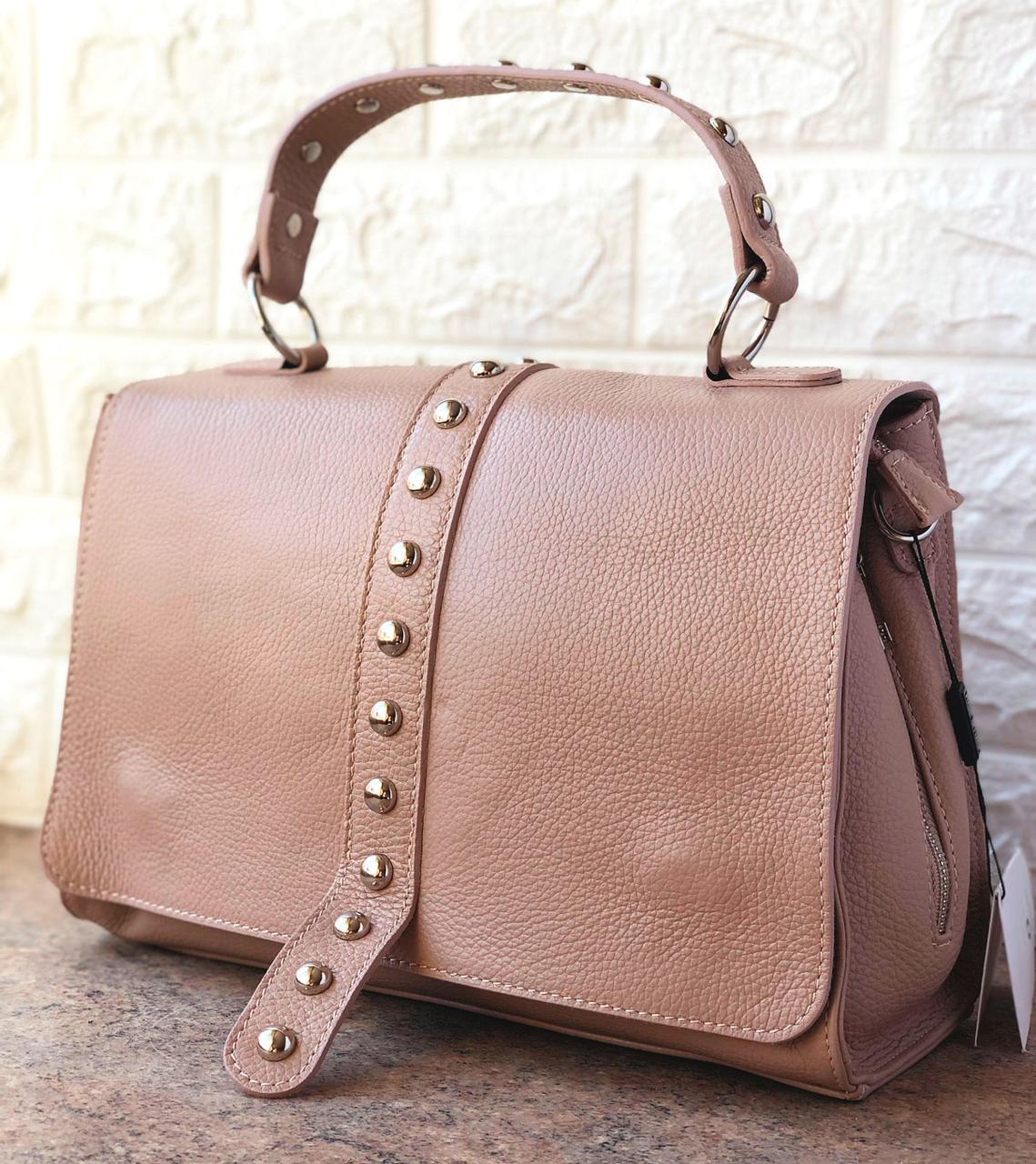 Женская сумка кожаная Virginia Conti Розовая