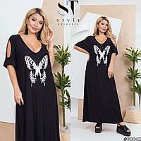 Сукня жіноча максі з метеликом (2 кольори) ЕК/-1416 - Чорний, фото 1