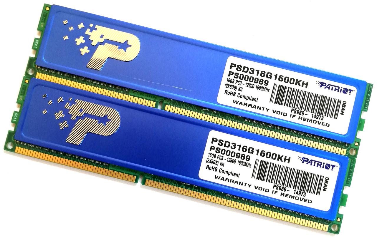 Пара оперативной памяти Patriot DDR3 16Gb (8Gb+8Gb) 1600MHz 12800U 1R8 CL11 (PSD316G1600KH) Б/У