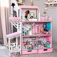 """Кукольный домик для Барби NestWood """"ЛЮКС"""" (терраса+балкон) 5 комнат (114см), без мебели"""
