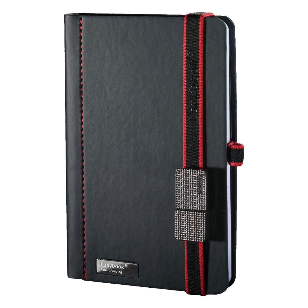 Записна книжка Туксон USB А5 (LanyBook), білий блок в клітку, кожзам + флешка 4 Гб., чорна