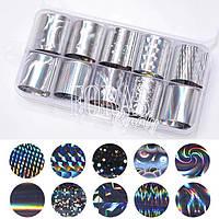 Наклейки - фольга для ногтей, Silver №36
